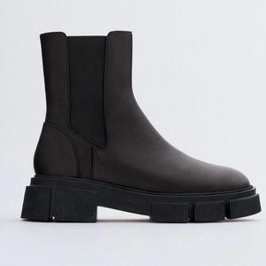 EUC Zara Lug Sole Low Heel Leather Ankle Boots